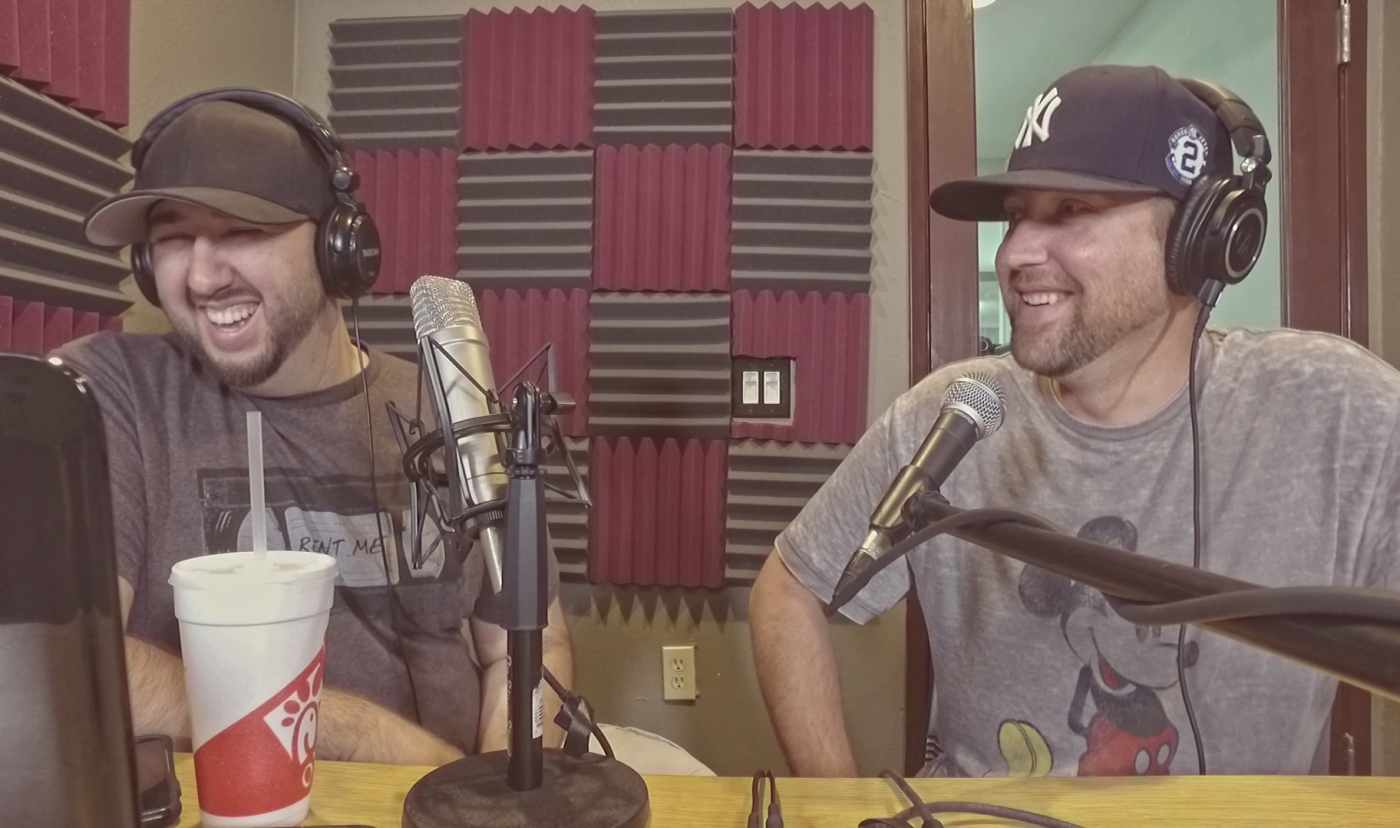 Jason Frerking and Ted Hemeyer record their podcast for release every two weeks between their YouTube channel's bi-weekly bad movie review videos